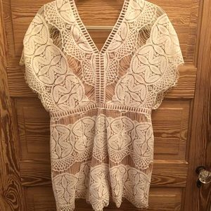 Adelyn Rae ivory lace romper